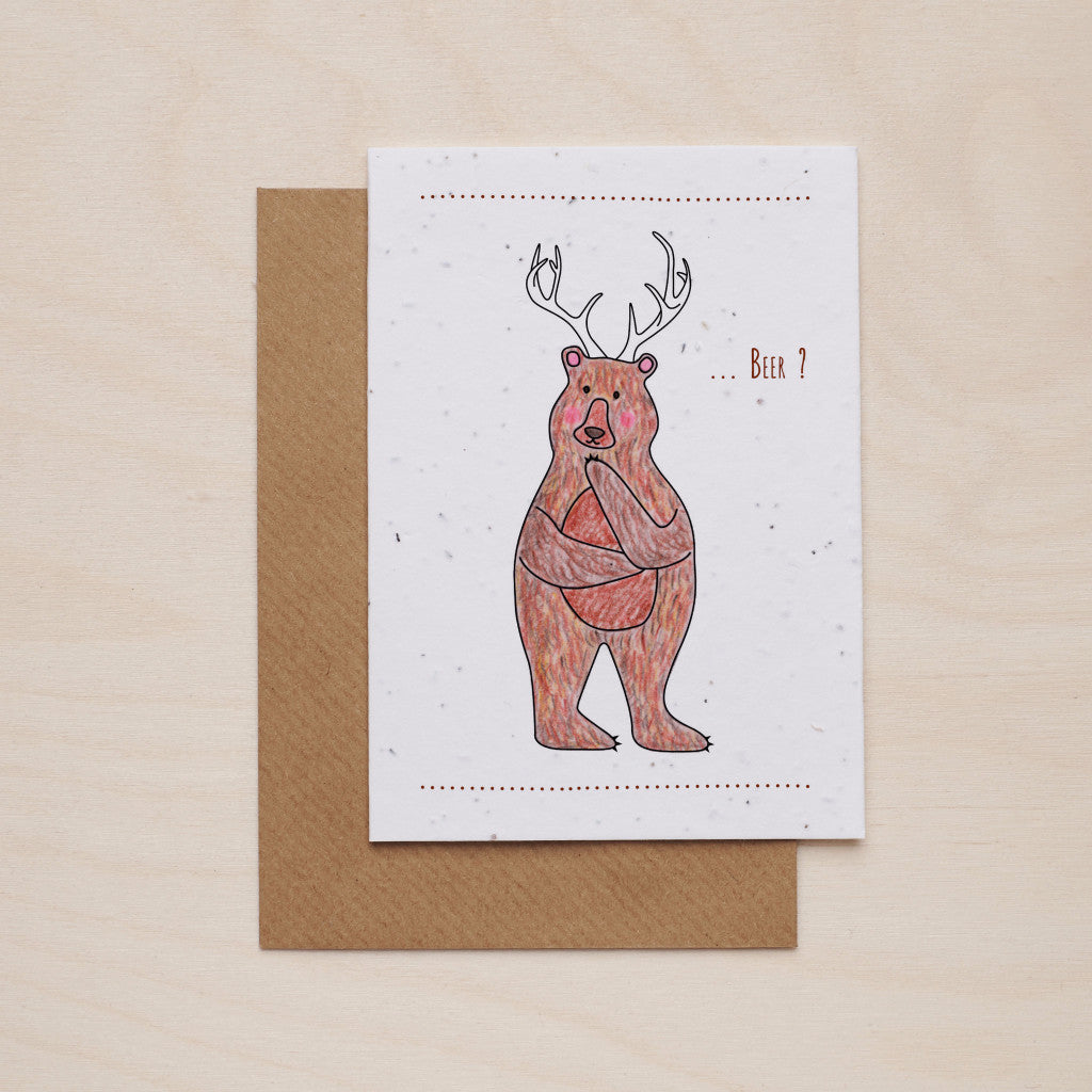Bear+deer = beer? - Seeded card - Oolaladesign