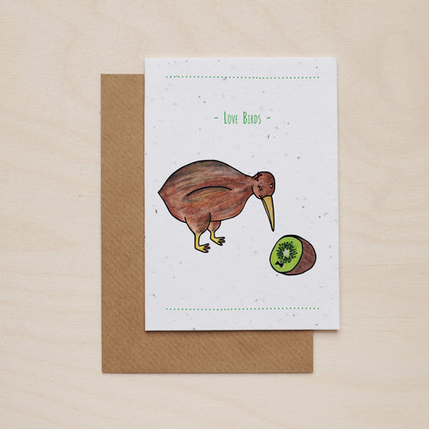 Kiwi love birds - Seeded card