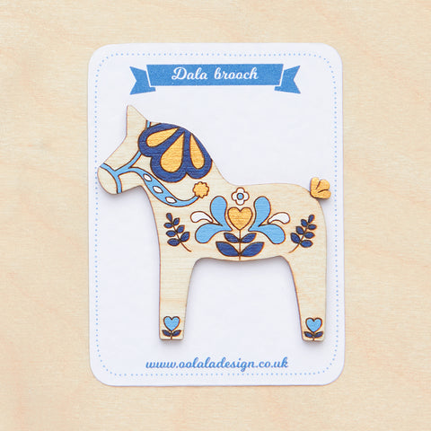 Blue Dala horse brooch