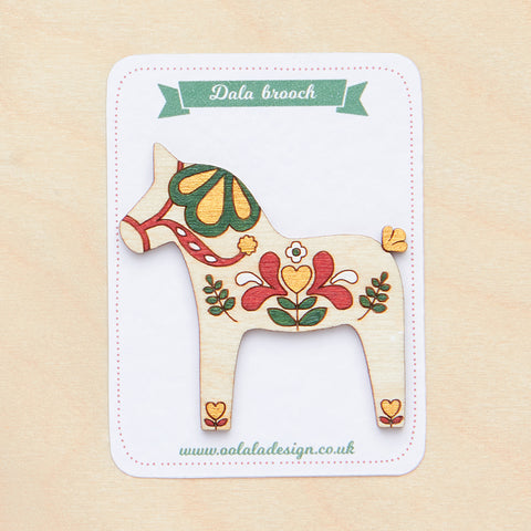 Red Dala horse brooch