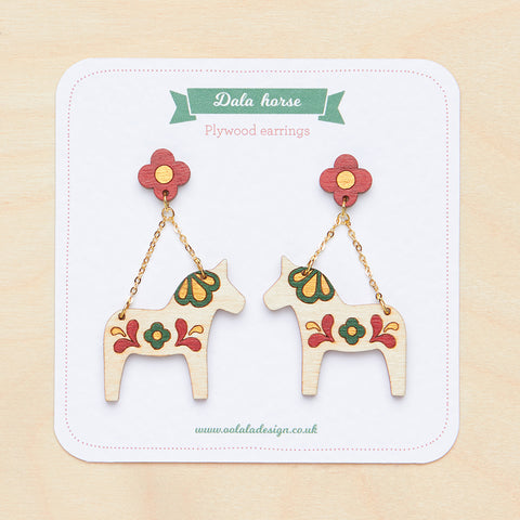 Red Dala horse dangle earrings