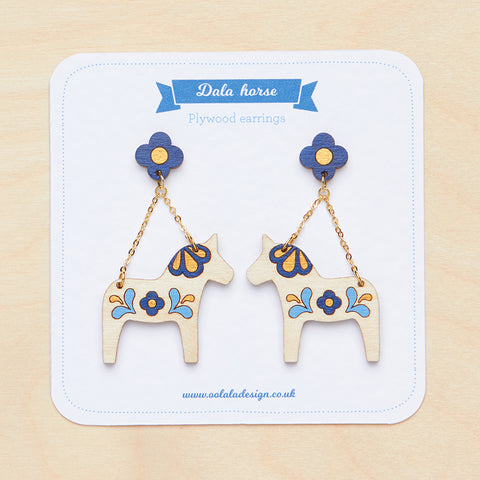 Blue Dala horse dangle earrings