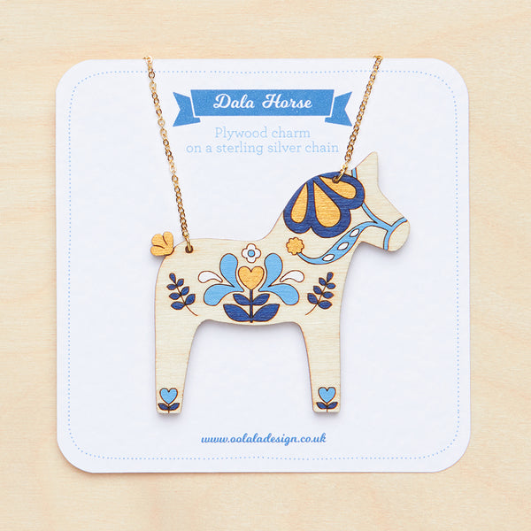 Blue Dala horse necklace - Oolaladesign