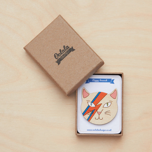 David Bowie cat brooch - Oolaladesign