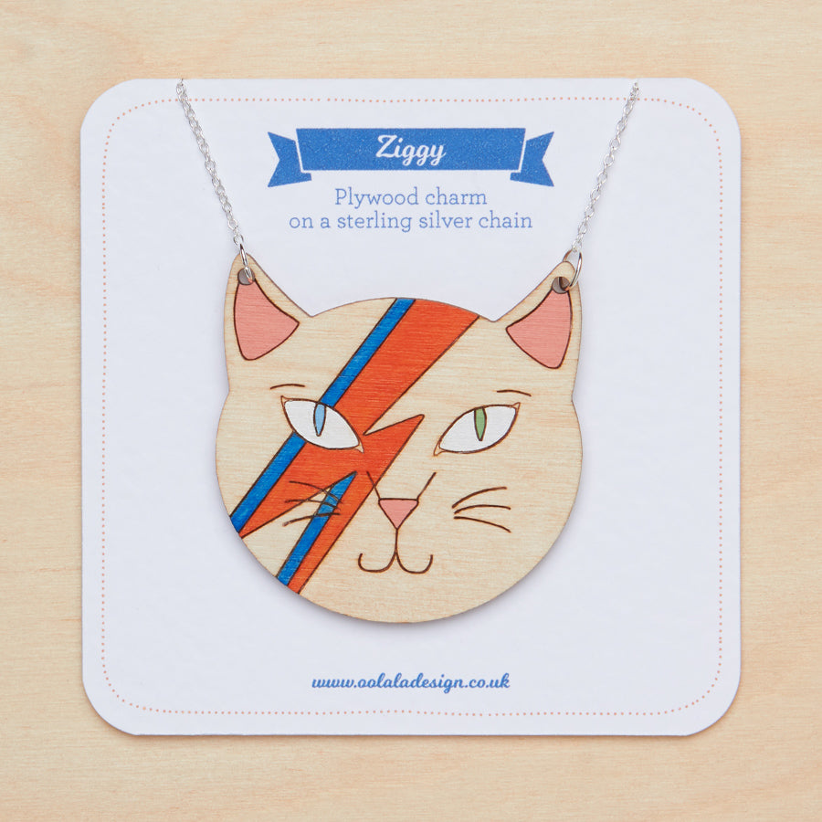 David Bowie cat necklace - Oolaladesign