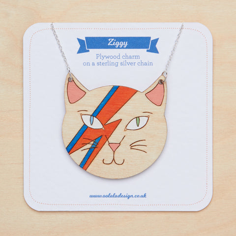David Bowie cat necklace