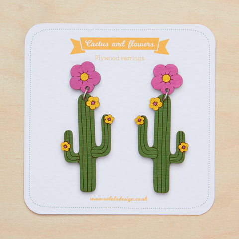 Flower & cactus dangle earrings