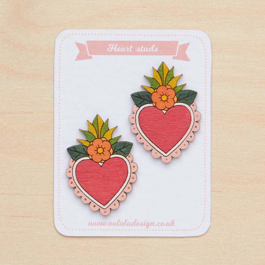 Floral hearts studs - Oolaladesign