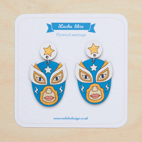 Teal luchador dangle earrings