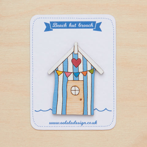 Blue bunting beach hut brooch