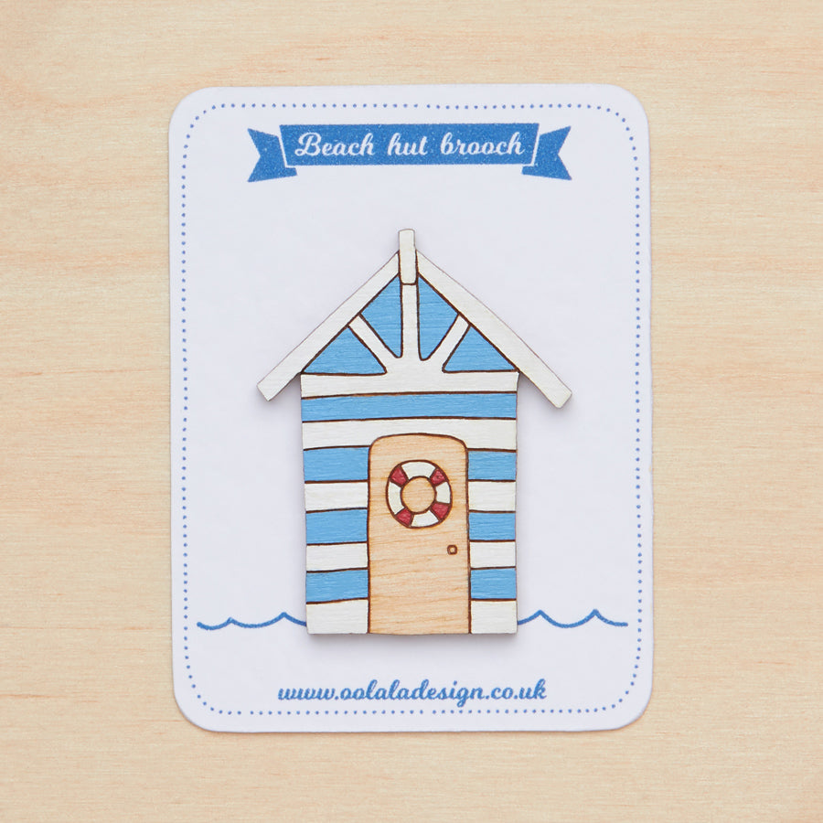 Blue beach hut brooch - Oolaladesign