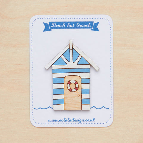 Blue beach hut brooch