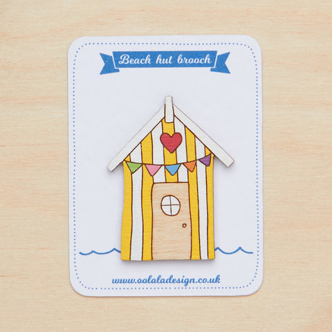 Yellow bunting beach hut brooch
