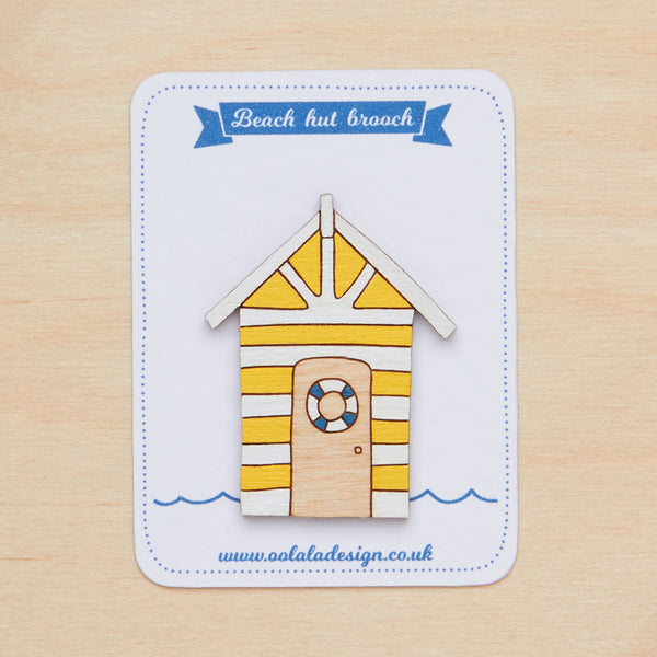 Yellow beach hut brooch - Oolaladesign