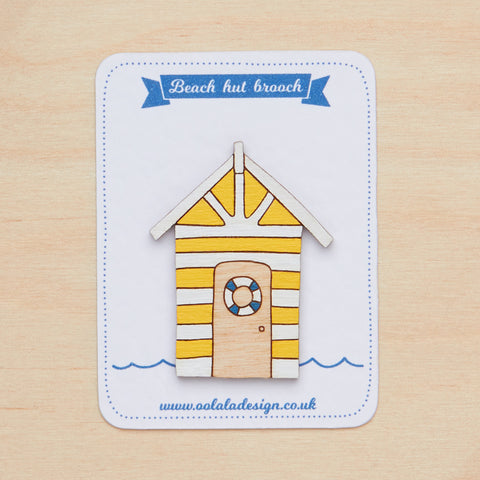 Yellow beach hut brooch