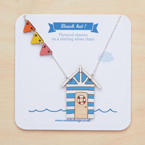 Blue beach hut necklace