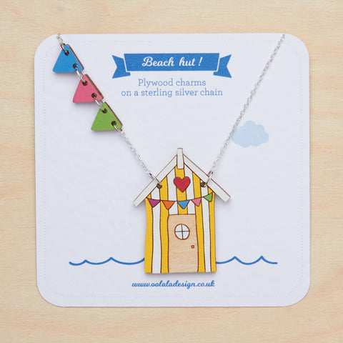 Yellow beach hut necklace
