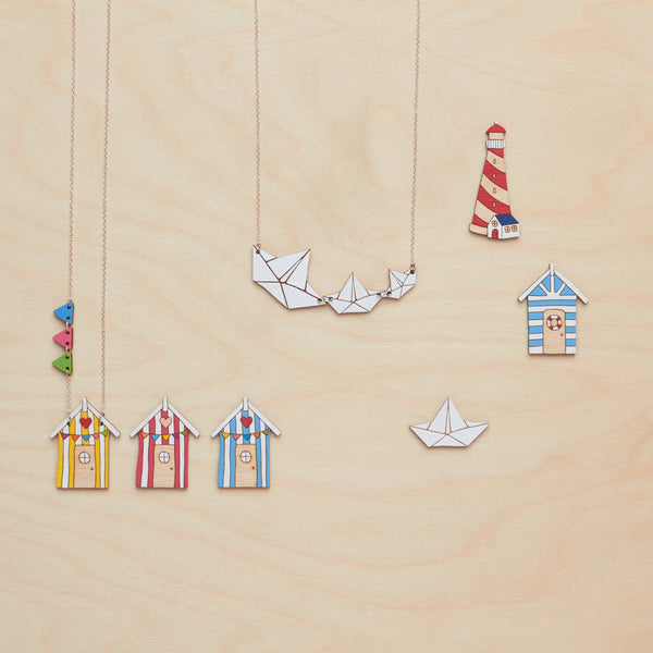 Blue beach hut necklace - Oolaladesign