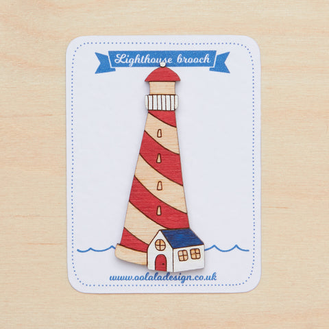Red lighthouse brooch
