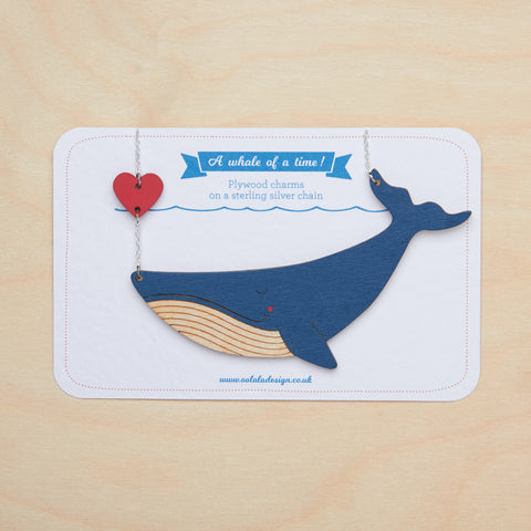 Whale and heart necklace