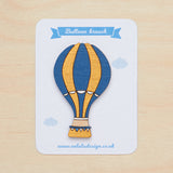 Teal hot air balloon brooch - Oolaladesign