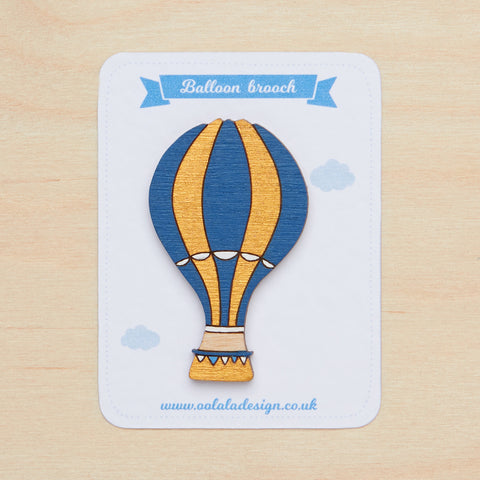 Teal hot air balloon brooch