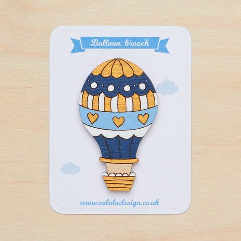 Blue hot air balloon brooch