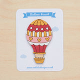 Red hot air balloon in brooch - Oolaladesign
