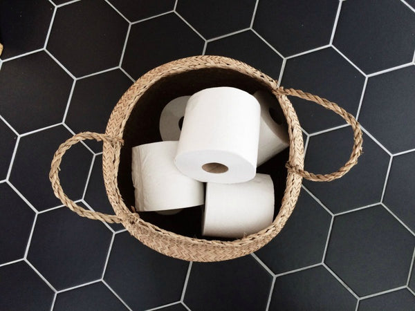 Seagrass belly basket bathroom storage ideas Collectie