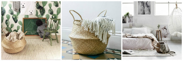 Seagrass belly baskets throws Collectie