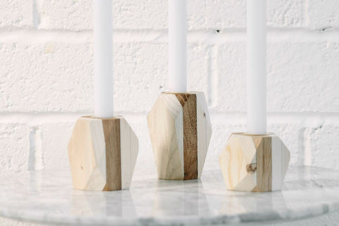 Eco recycled wooden geometric candle holders