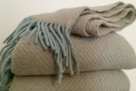 Collectie.co.uk. Pure New Wool Herringbone Throw in fawn & duck egg blue £46