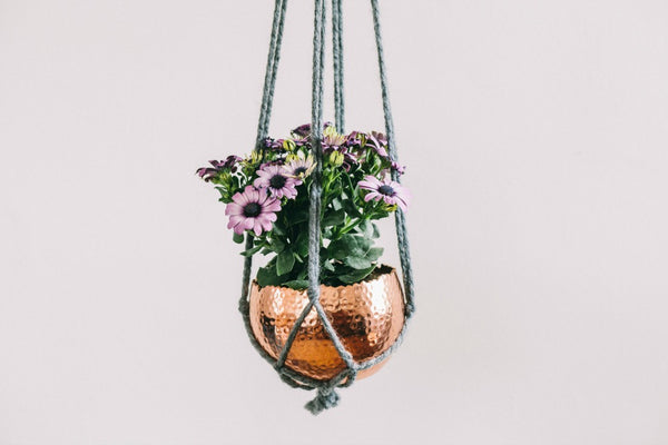 collectie.co.uk Copper Planters Small with macrame hanger