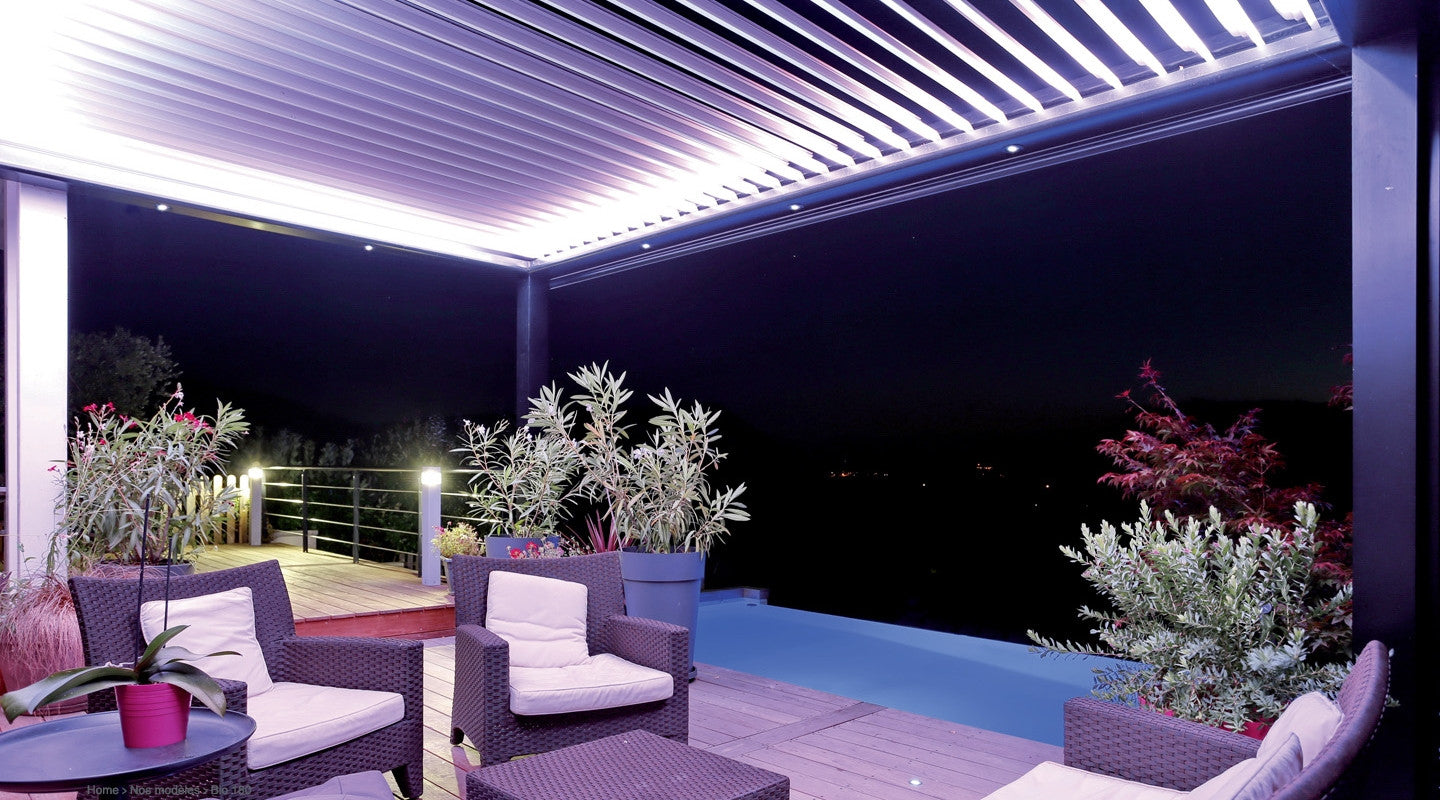 bio 230 pergola bioclimatique 100 eco biossun idf. Black Bedroom Furniture Sets. Home Design Ideas