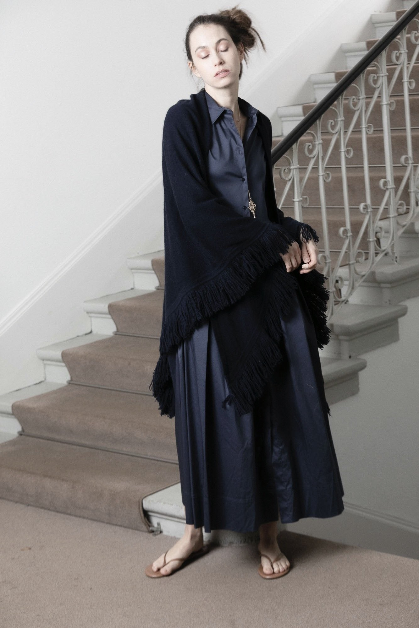 Choice by Réjane Rosenberger Cashmere Poncho navy