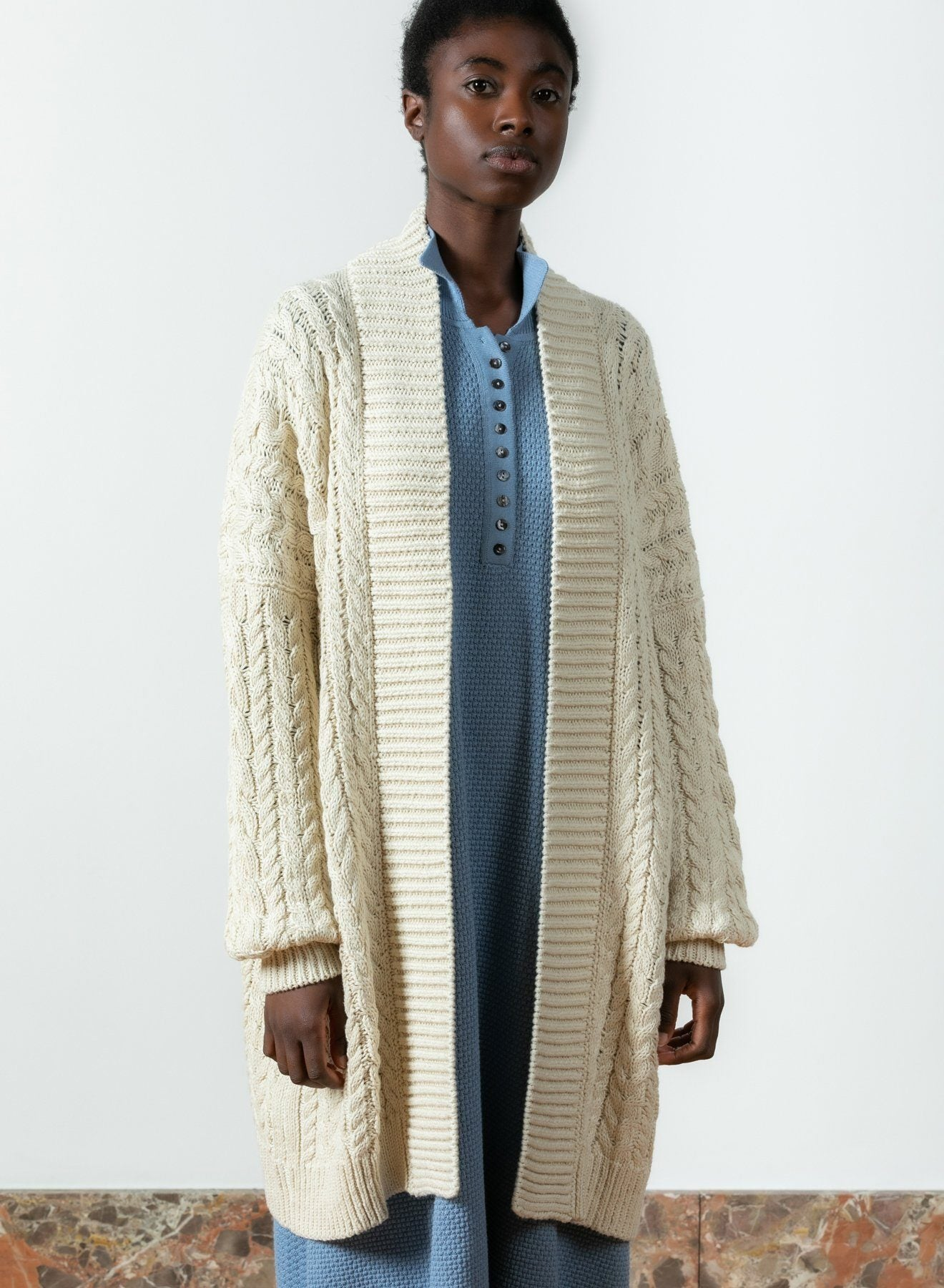 "I LOVE MR MITTENS Chunky Cable Cardigan ""COTTON"" ivory"