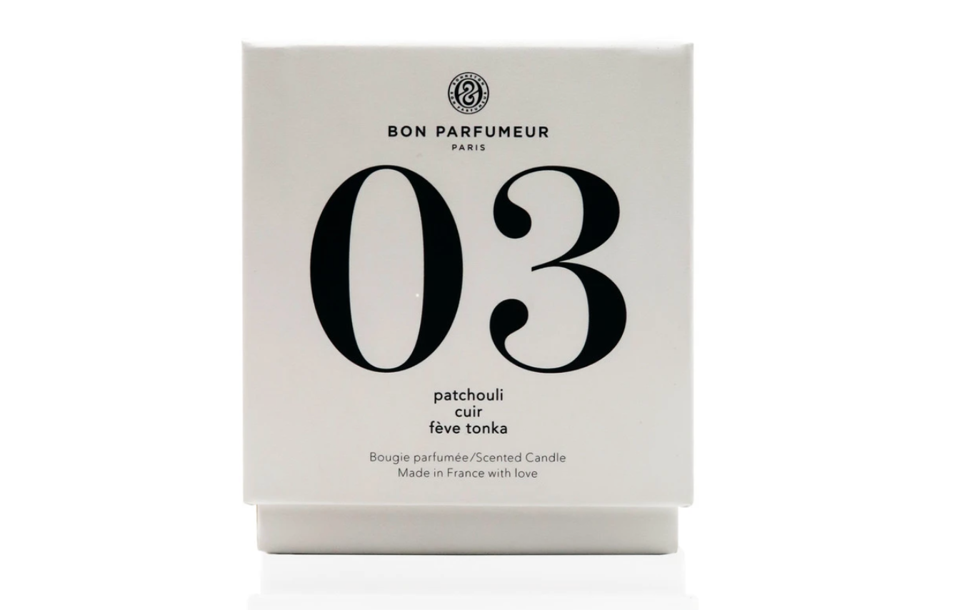 BON PARFUMEUR Candle 03: patchouli, leather, Tonka bean