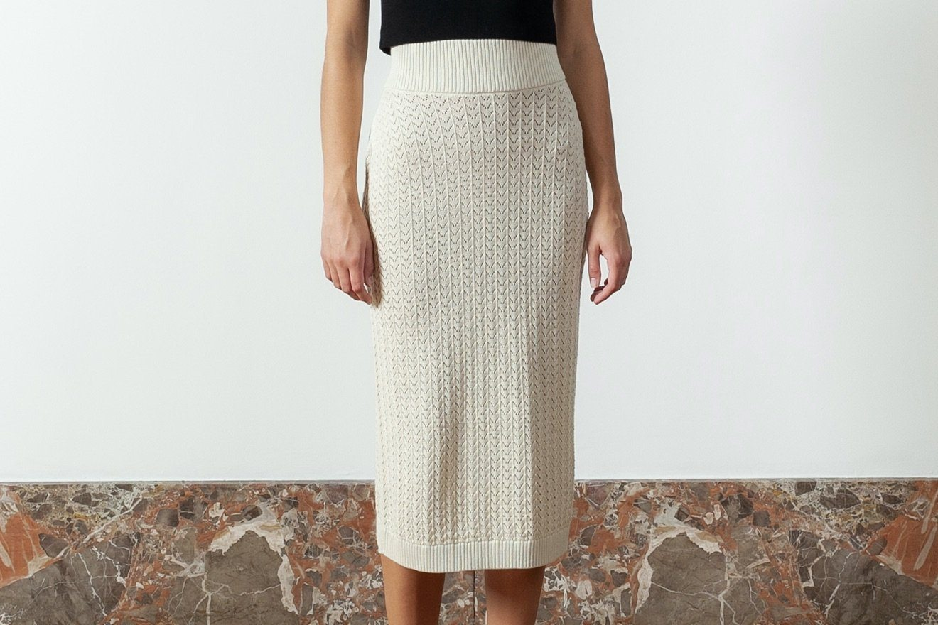 "I LOVE MR MITTENS Midi Lace Skirt ""COTTON"" ivory"