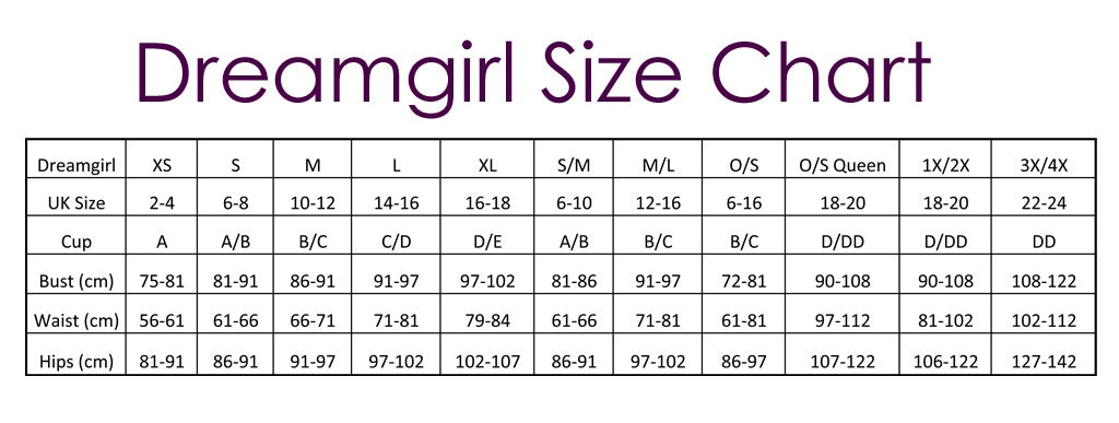 dreamgirl size chart naughty dorothy