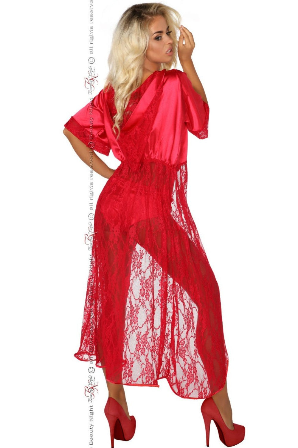 c602b53298 Beauty Night Electra Dressing Gown Set Red - Naughty Dorothy