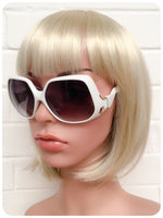 Retro 70s Oversize Big Bug Swan Arm White Frame Sunglasses