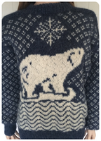 ORIGINAL VINTAGE 1980'S CHUNKY SOFT HAND KNIT POLAR BEAR CHRISTMAS JUMPER