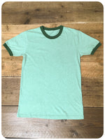 Brand New Unisex 1970s Style Retro Green Ringer Tee T-Shirts
