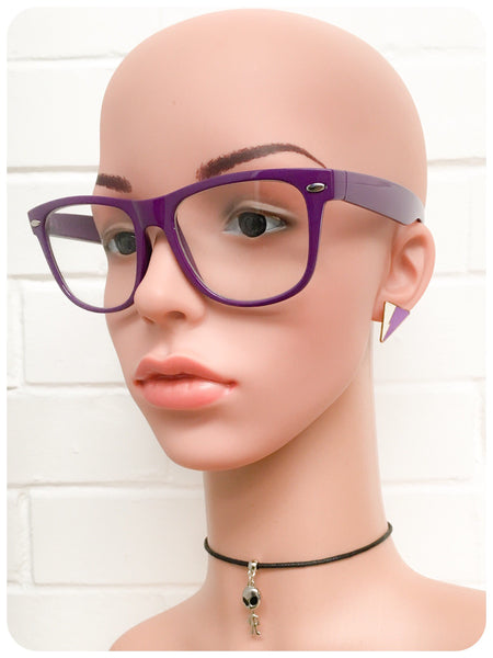 Retro 80s Purple Wayfarer Horn Rim Clear Lens Geek Glasses Frames Specticles