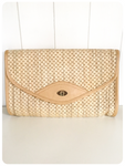 VINTAGE 1970's 80's RAFFIA STRAW WOVEN BASKET SHOULDER CLUTCH BAG BOHO