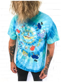 Vintage 90s Rare The Beatles Yellow Submarine Spiral Tie Dye Tee T Shirt