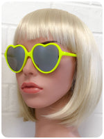 True Vintage 90s Big Oversize Neon Yellow Mirror Lens Heart Shape Lolita Sunglasses Brand New Dead Stock UV400
