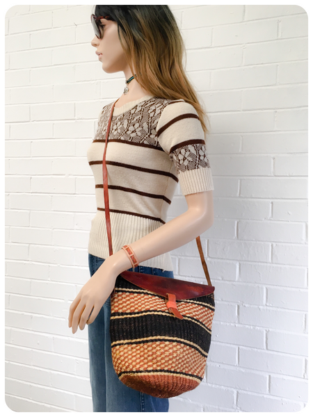 Vintage 70's Leather Woven Straw Raffia Cross Body Bag