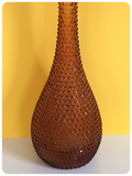 MID CENTURY VINTAGE 1960's TALL AMBER EMPOLI ITALY GLASS DECANTER GENIE BOTTLE