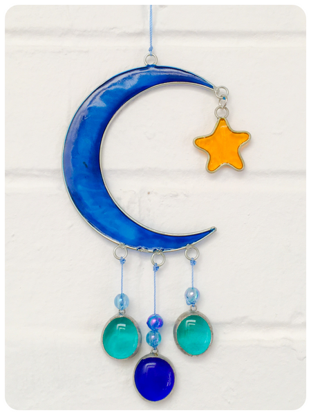 Bohemian Balinese Moon & Wishing Star Sun Catcher Stained Glass
